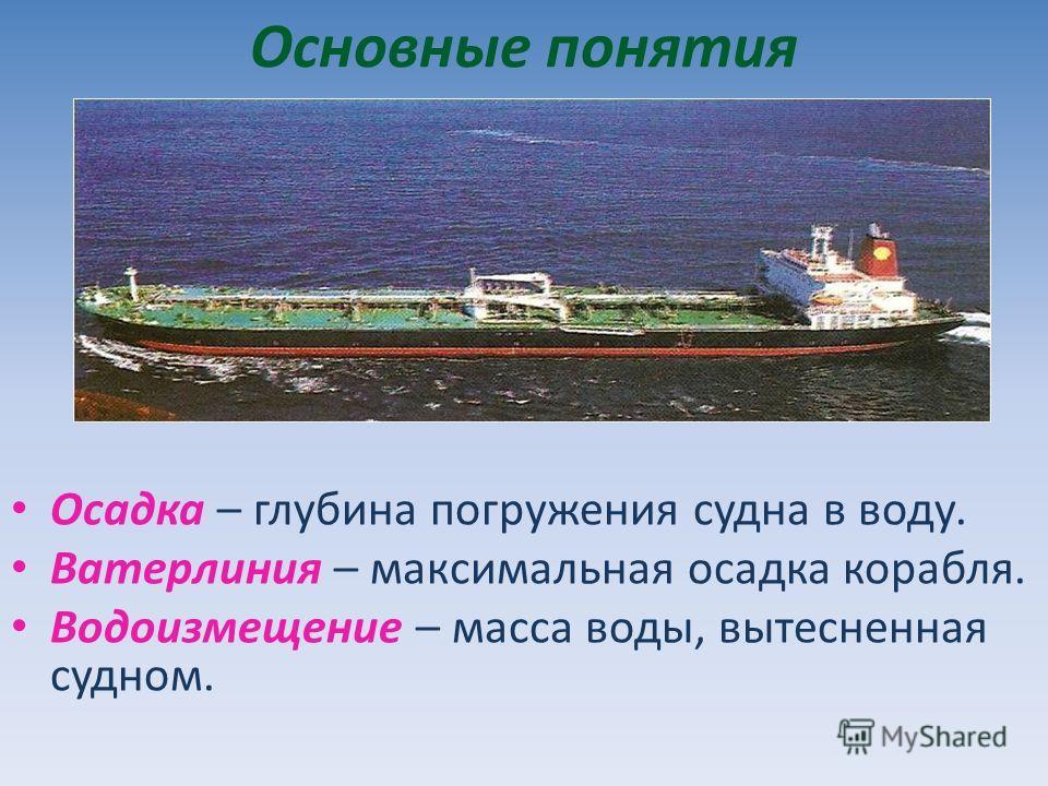 Основные понятия Осадка – глубина погружения судна в воду. Ватерлиния – максимальная осадка корабля. Водоизмещение – масса воды, вытесненная судном.
