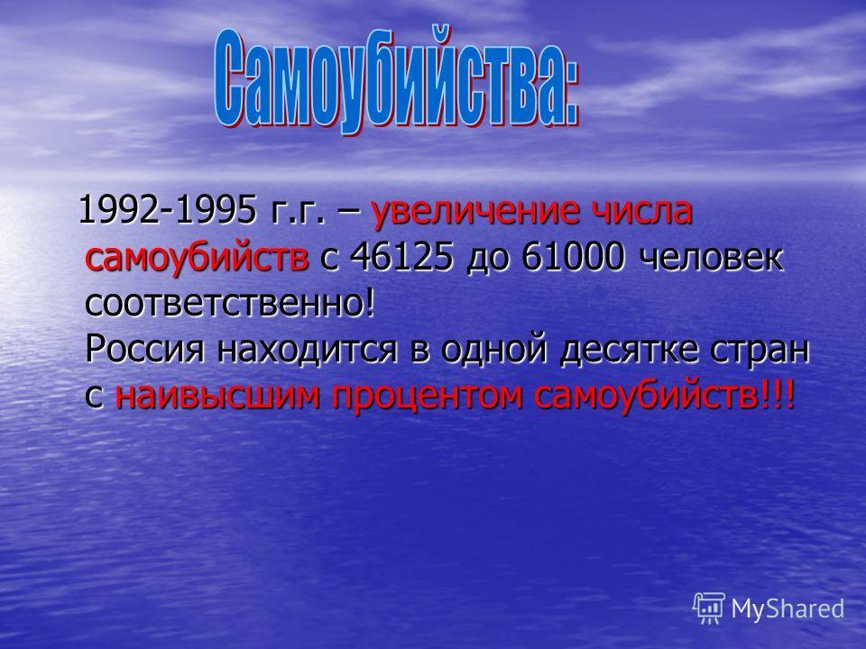 1992-1995 г.г. – увеличение числа самоубийств с 46125 до 61000 человек соответственно! Россия находится в одной десятке стран с наивысшим процентом самоубийств!!! 1992-1995 г.г. – увеличение числа самоубийств с 46125 до 61000 человек соответственно!