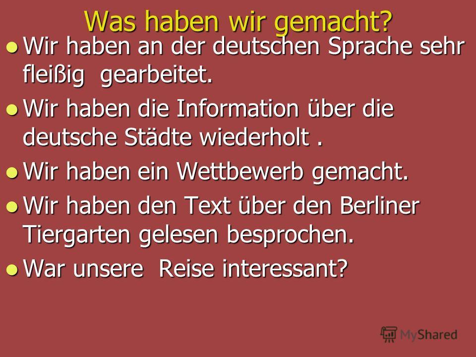 Was haben wir gemacht? Wir haben an der deutschen Sprache sehr fleißig gearbeitet. Wir haben an der deutschen Sprache sehr fleißig gearbeitet. Wir haben die Information über die deutsche Städte wiederholt. Wir haben die Information über die deutsche