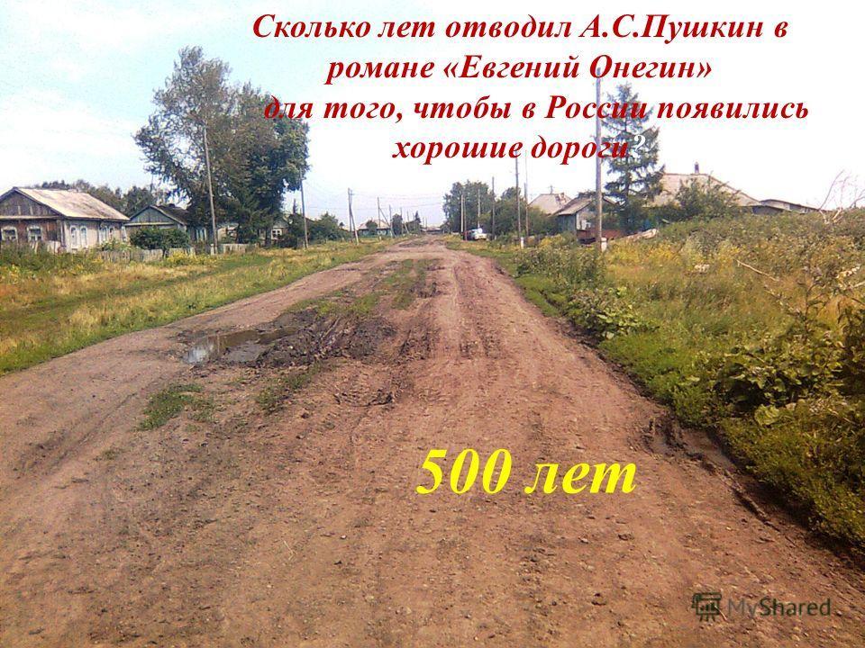 Сколько лет отводил А.С.Пушкин в романе «Евгений Онегин» для того, чтобы в России появились хорошие дороги? 500 лет