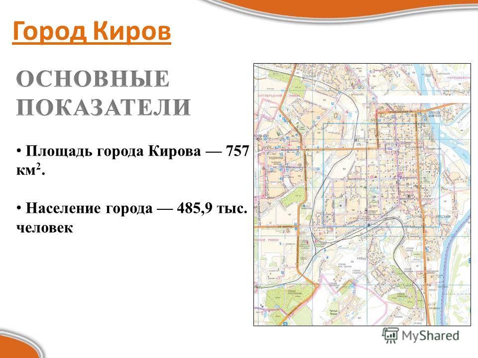 Город Киров Площадь города Кирова 757 км 2. Население города 485,9 тыс. человек