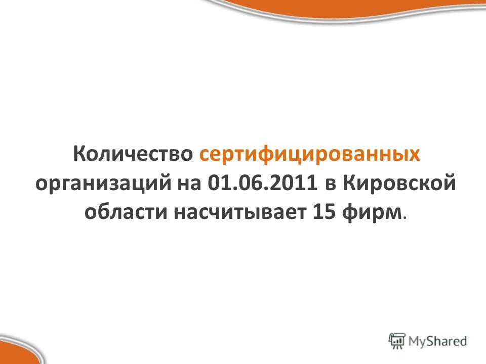 Количество сертифицированных организаций на 01.06.2011 в Кировской области насчитывает 15 фирм.