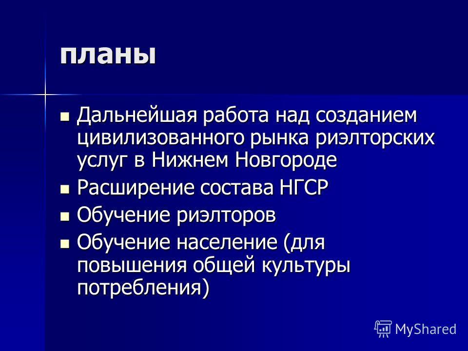 планы Дальнейшая работа над созданием цивилизованного рынка риэлторских услуг в Нижнем Новгороде Дальнейшая работа над созданием цивилизованного рынка риэлторских услуг в Нижнем Новгороде Расширение состава НГСР Расширение состава НГСР Обучение риэлт