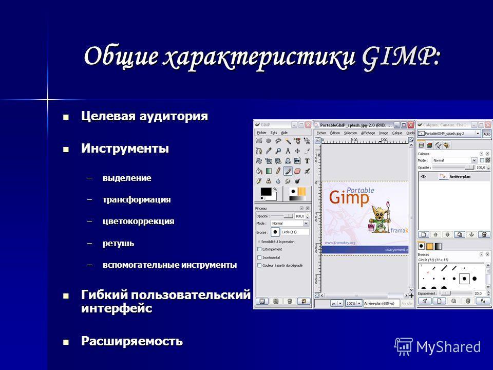 Общие характеристики GIMP: Целевая аудитория Целевая аудитория Инструменты Инструменты –выделение –трансформация –цветокоррекция –ретушь –вспомогательные инструменты Гибкий пользовательский интерфейс Гибкий пользовательский интерфейс Расширяемость Ра