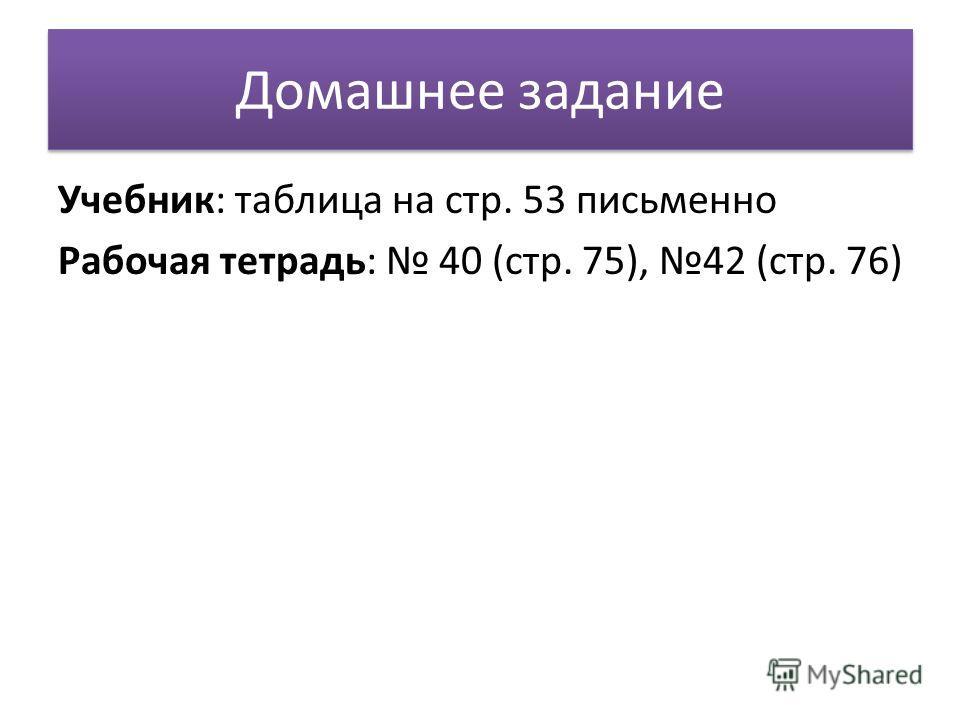 Домашнее задание Учебник: таблица на стр. 53 письменно Рабочая тетрадь: 40 (стр. 75), 42 (стр. 76)