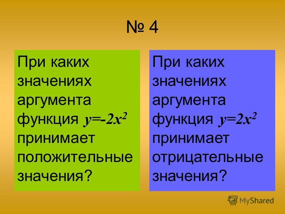 4 При каких значениях аргумента функция y=-2x 2 принимает положительные значения? При каких значениях аргумента функция y=2x 2 принимает отрицательные значения?