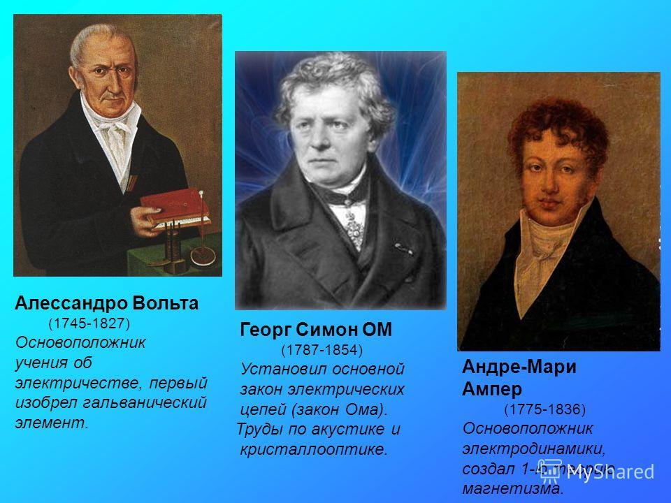 Алессандро Вольта (1745-1827) Основоположник учения об электричестве, первый изобрел гальванический элемент. Георг Симон ОМ (1787-1854) Установил основной закон электрических цепей (закон Ома). Труды по акустике и кристаллооптике. Андре-Мари Ампер (1