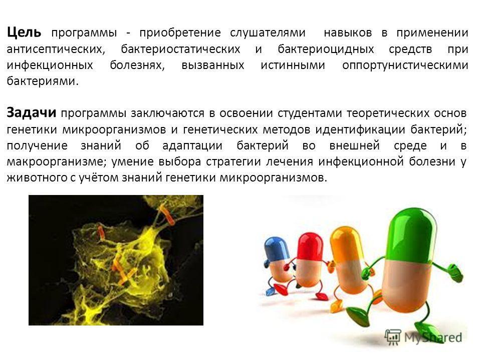 Цель программы - приобретение слушателями навыков в применении антисептических, бактериостатических и бактериоцидных средств при инфекционных болезнях, вызванных истинными оппортунистическими бактериями. Задачи программы заключаются в освоении студен