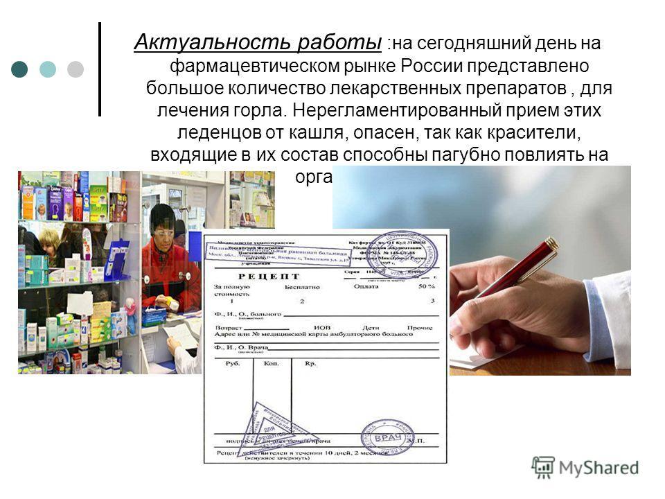 Актуальность работы :на сегодняшний день на фармацевтическом рынке России представлено большое количество лекарственных препаратов, для лечения горла. Нерегламентированный прием этих леденцов от кашля, опасен, так как красители, входящие в их состав