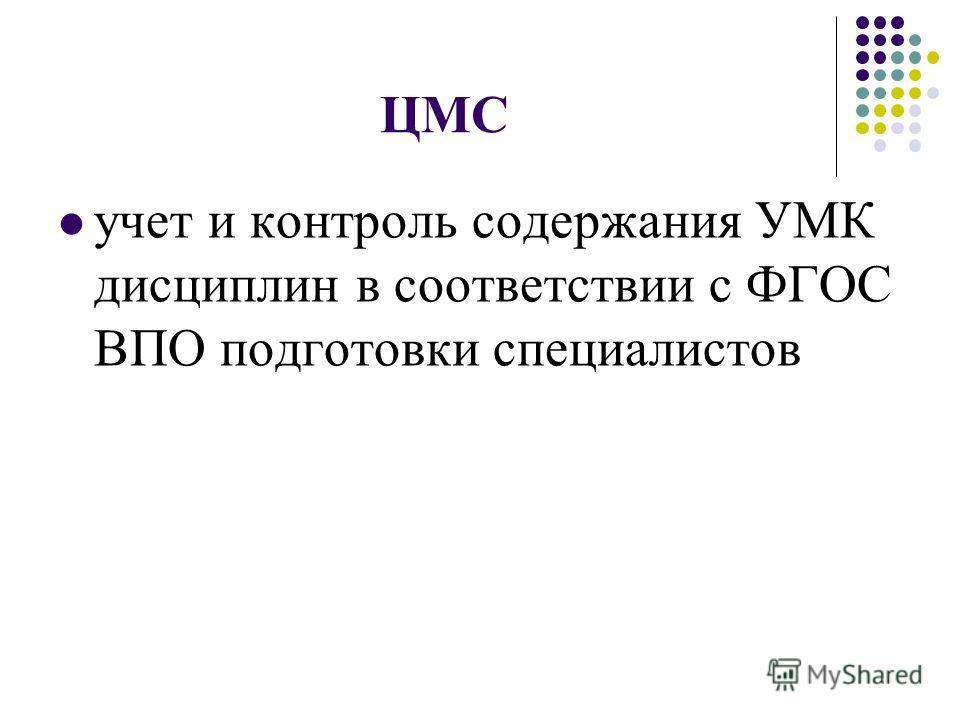 ЦМС учет и контроль содержания УМК дисциплин в соответствии с ФГОС ВПО подготовки специалистов