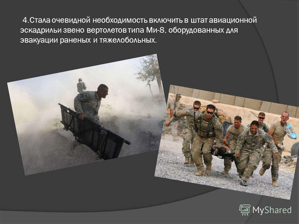 4.Стала очевидной необходимость включить в штат авиационной эскадрильи звено вертолетов типа Ми-8, оборудованных для эвакуации раненых и тяжелобольных.