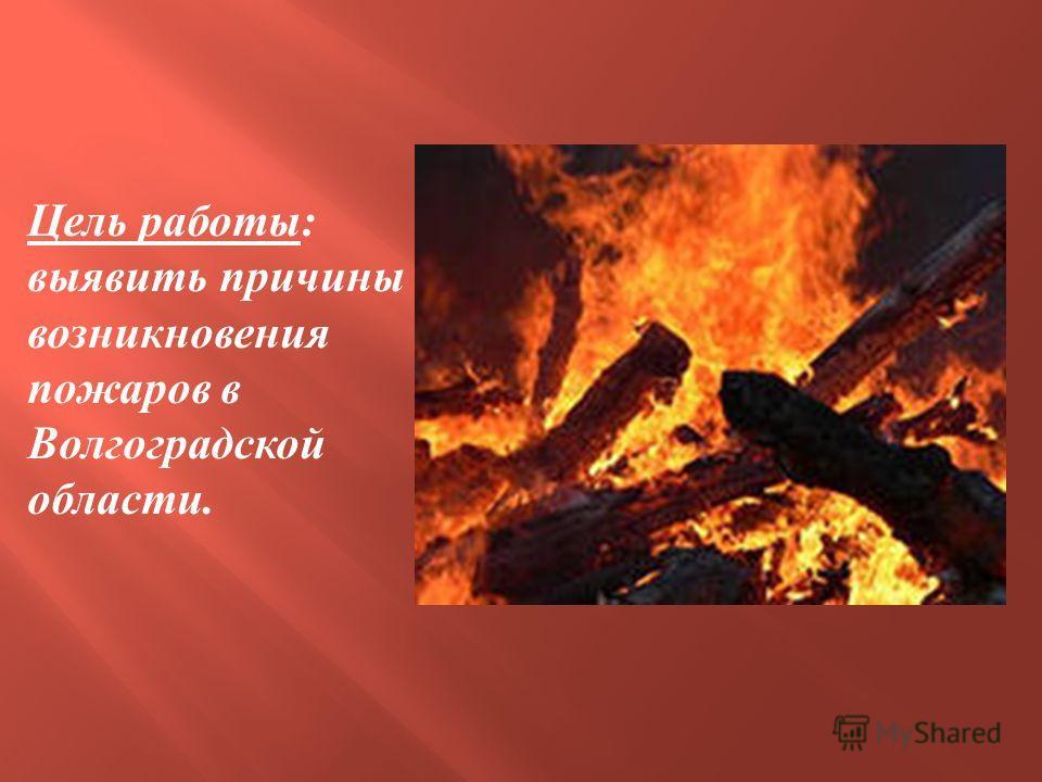 Цель работы : выявить причины возникновения пожаров в Волгоградской области.