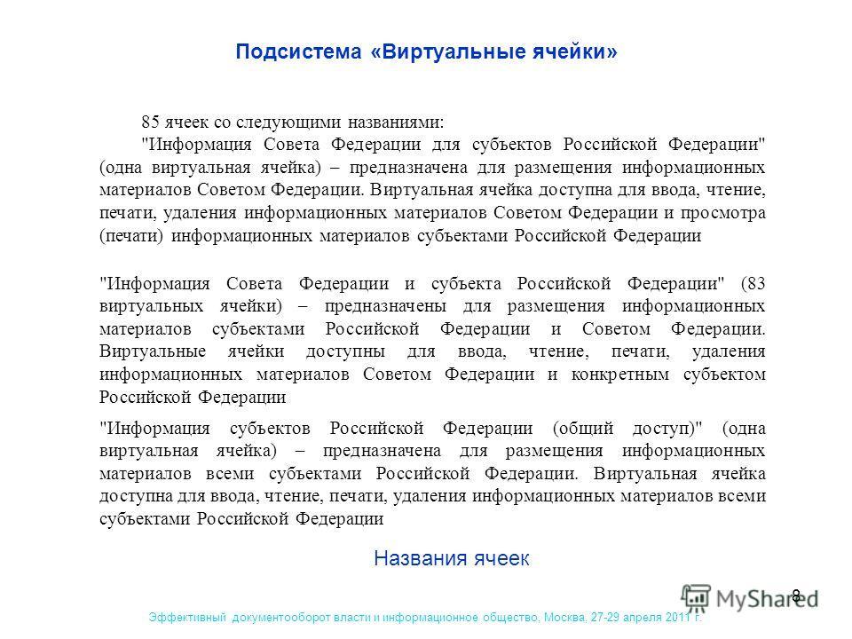 8 Подсистема «Виртуальные ячейки» Эффективный документооборот власти и информационное общество, Москва, 27-29 апреля 2011 г. Названия ячеек 85 ячеек со следующими названиями: