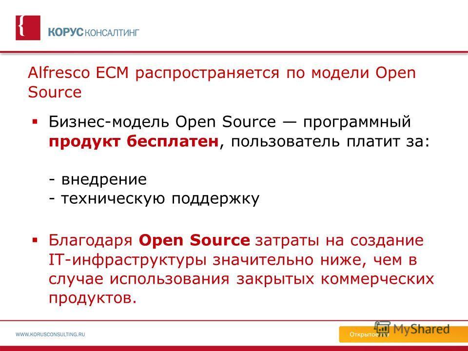 Alfresco ECM распространяется по модели Open Source Бизнес-модель Open Source программный продукт бесплатен, пользователь платит за: - внедрение - техническую поддержку Благодаря Open Source затраты на создание IT-инфраструктуры значительно ниже, чем