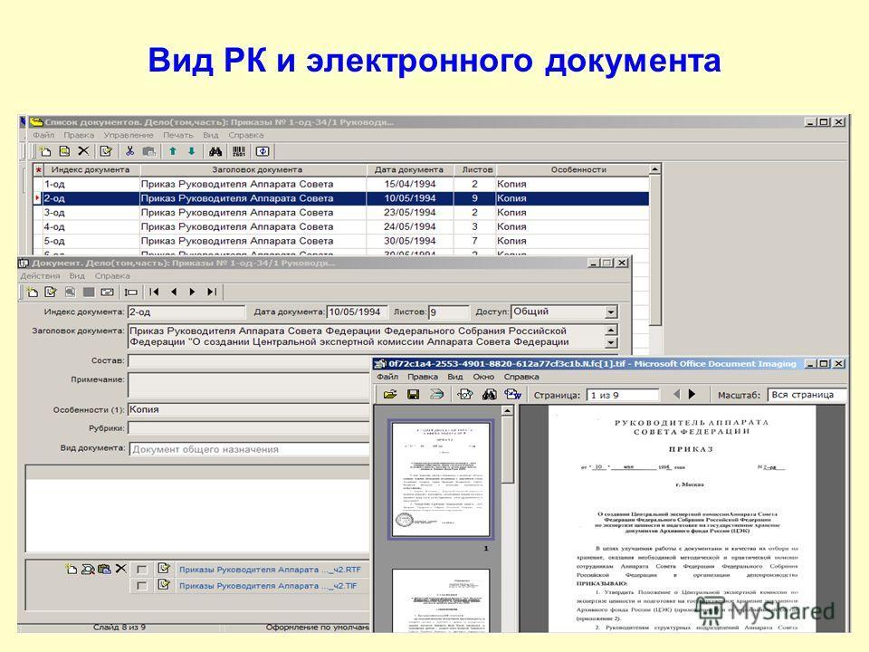 Вид РК и электронного документа
