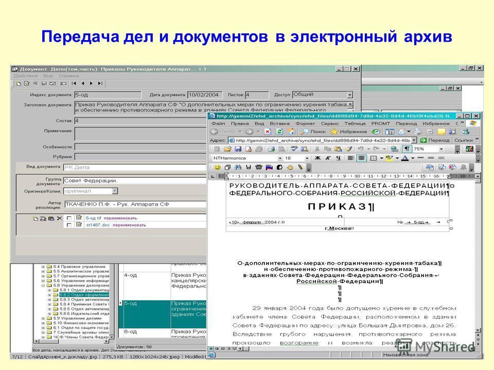 Передача дел и документов в электронный архив