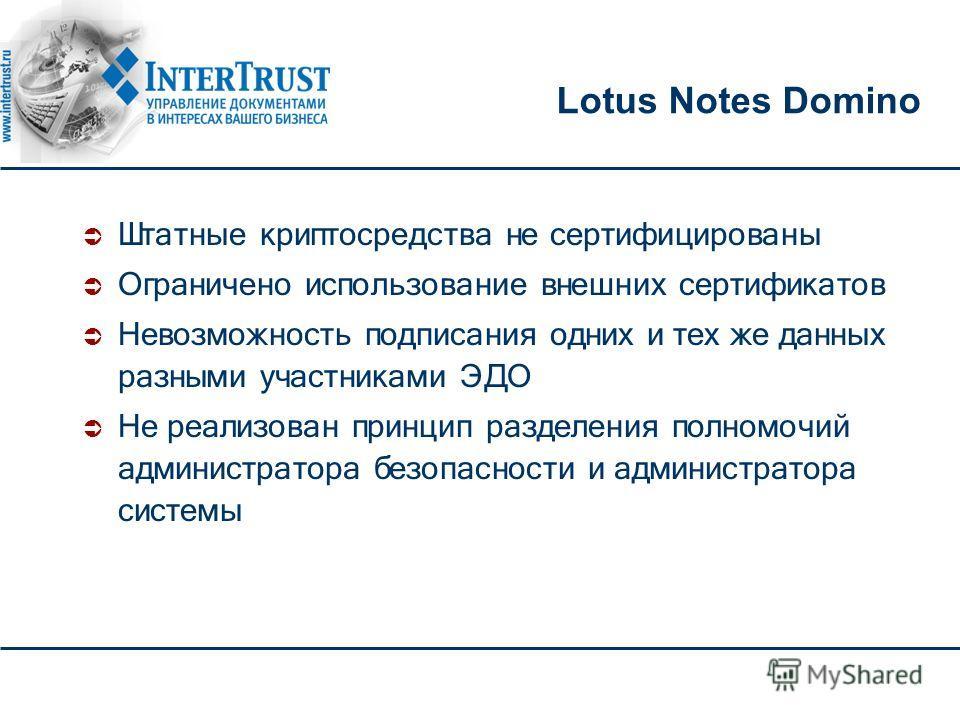 Lotus Notes Domino Штатные криптосредства не сертифицированы Ограничено использование внешних сертификатов Невозможность подписания одних и тех же данных разными участниками ЭДО Не реализован принцип разделения полномочий администратора безопасности