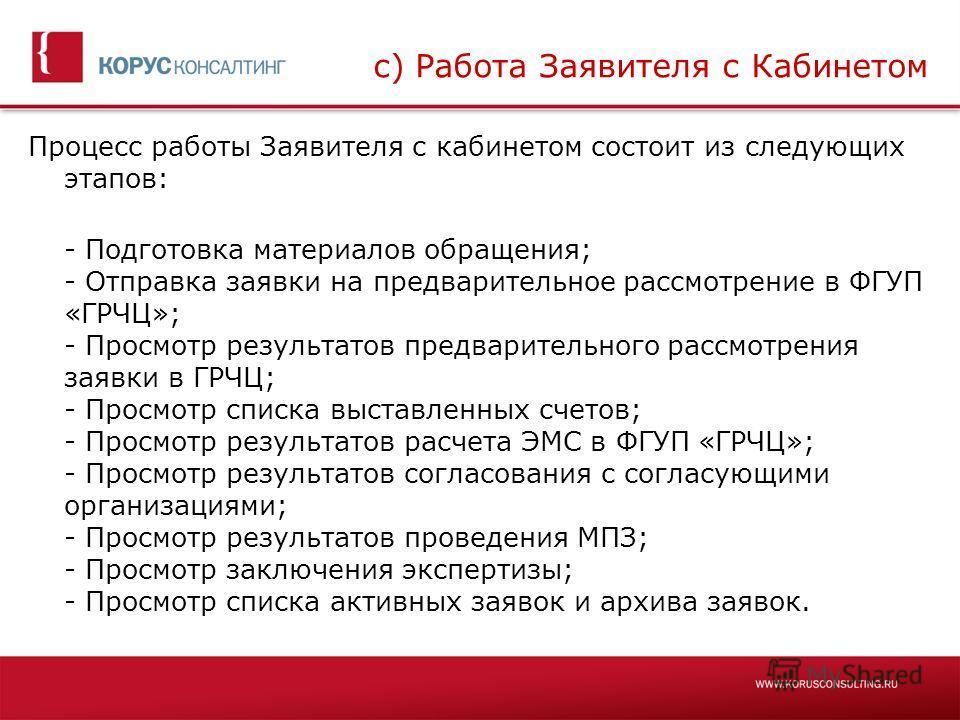 c) Работа Заявителя с Кабинетом Процесс работы Заявителя с кабинетом состоит из следующих этапов: - Подготовка материалов обращения; - Отправка заявки на предварительное рассмотрение в ФГУП «ГРЧЦ»; - Просмотр результатов предварительного рассмотрения