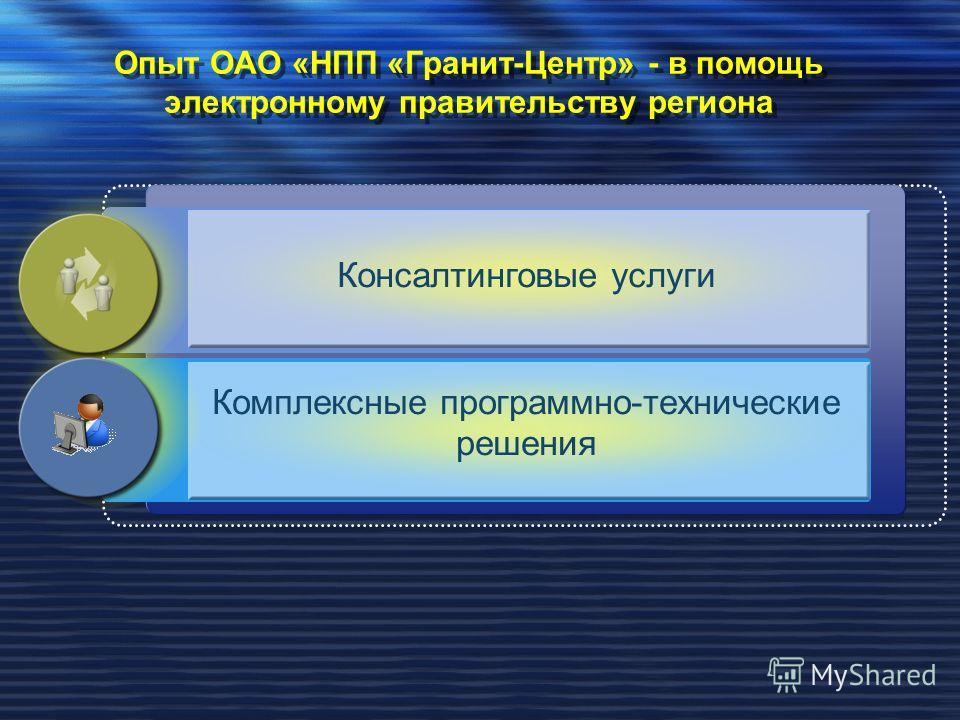 Опыт ОАО «НПП «Гранит-Центр» - в помощь электронному правительству региона Консалтинговые услуги Комплексные программно-технические решения