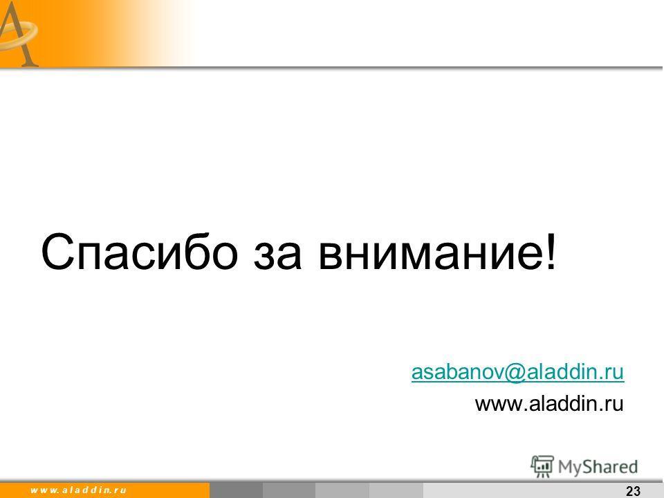 w w w. a l a d d i n. r u Спасибо за внимание! asabanov@aladdin.ru www.aladdin.ru 23