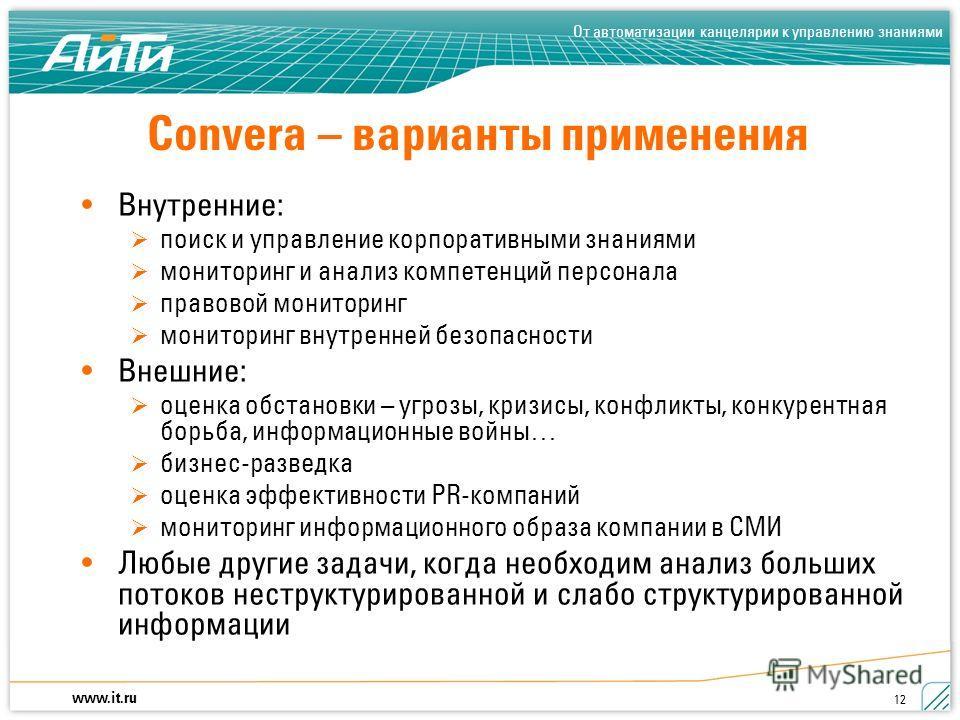 www.it.ru От автоматизации канцелярии к управлению знаниями 12 Convera – варианты применения Внутренние: поиск и управление корпоративными знаниями мониторинг и анализ компетенций персонала правовой мониторинг мониторинг внутренней безопасности Внешн