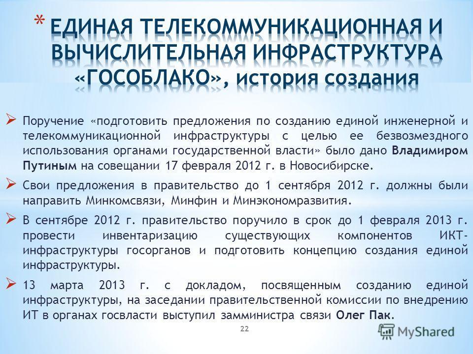 Поручение «подготовить предложения по созданию единой инженерной и телекоммуникационной инфраструктуры с целью ее безвозмездного использования органами государственной власти» было дано Владимиром Путиным на совещании 17 февраля 2012 г. в Новосибирск