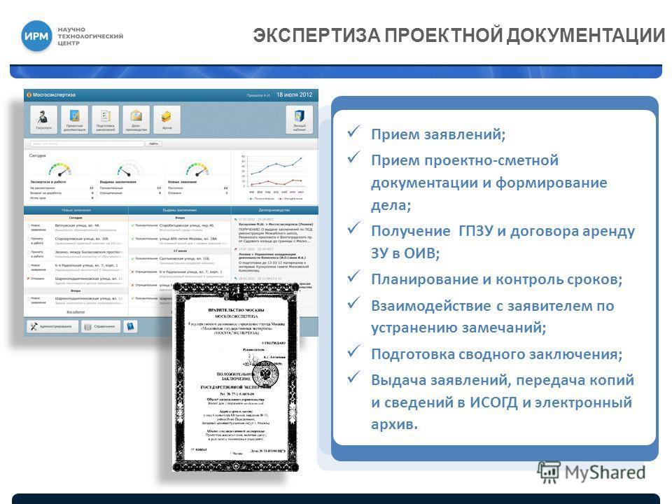Прием заявлений; Прием проектно-сметной документации и формирование дела; Получение ГПЗУ и договора аренду ЗУ в ОИВ; Планирование и контроль сроков; Взаимодействие с заявителем по устранению замечаний; Подготовка сводного заключения; Выдача заявлений