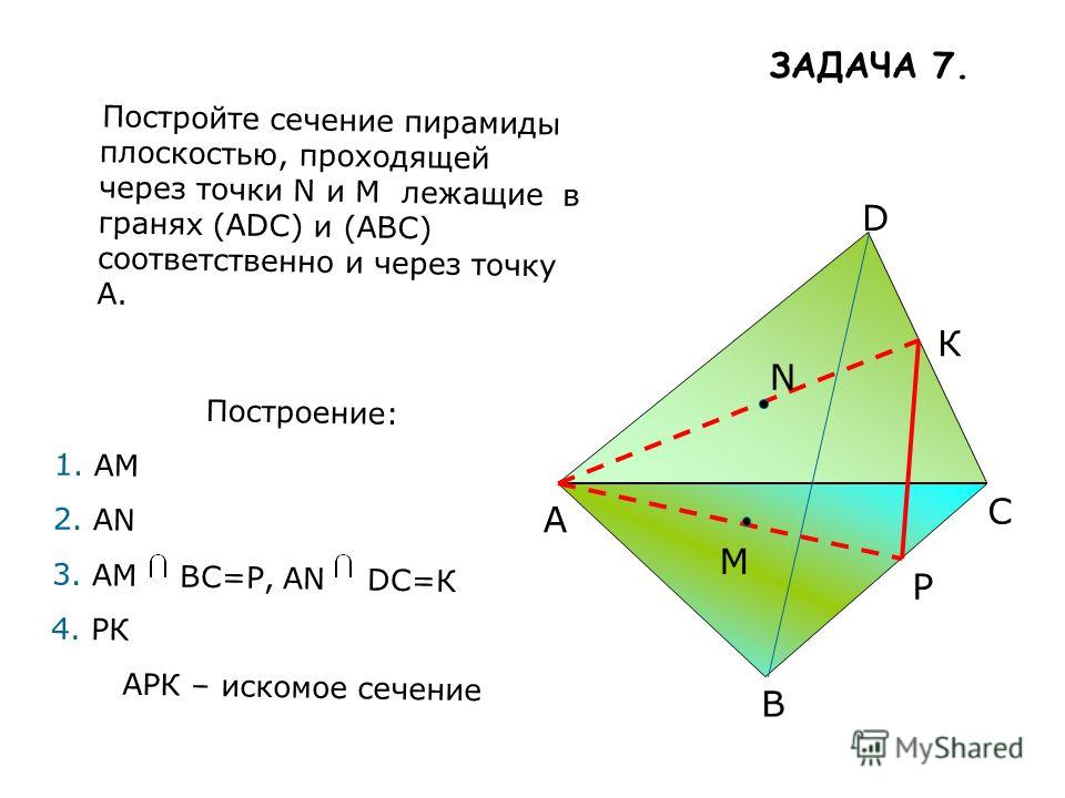 A B C D M N Постройте сечение пирамиды плоскостью, проходящей через точки N и М лежащие в гранях (ADС) и (АBC) соответственно и через точку А. Построение: 1.АМ 2.АN 3.АМ ВС=Р, АN DС=К 4.РК АРК – искомое сечение Р К ЗАДАЧА 7.