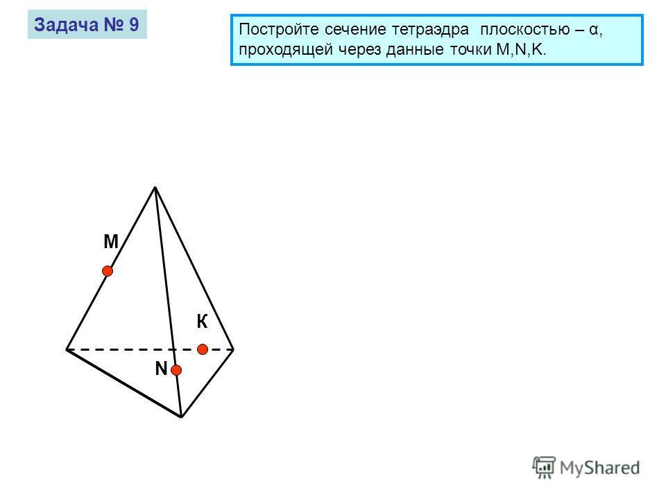 М К N Задача 9 Постройте сечение тетраэдра плоскостью – α, проходящей через данные точки M,N,K.