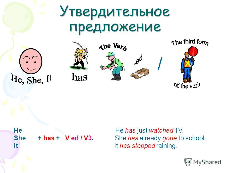 Утвердительное предложение He He has just watched TV. She + has + V ed / V3. She has already gone to school. It It has stopped raining. /