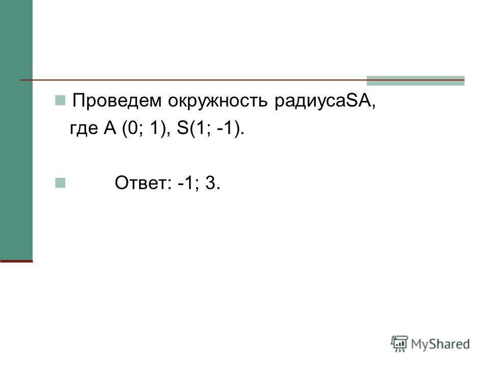 Проведем окружность радиусаSA, где А (0; 1), S(1; -1). Ответ: -1; 3.