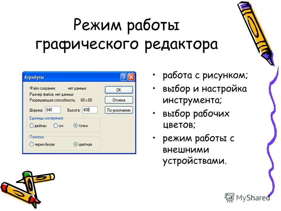 Режим работы графического редактора работа с рисунком; выбор и настройка инструмента; выбор рабочих цветов; режим работы с внешними устройствами.