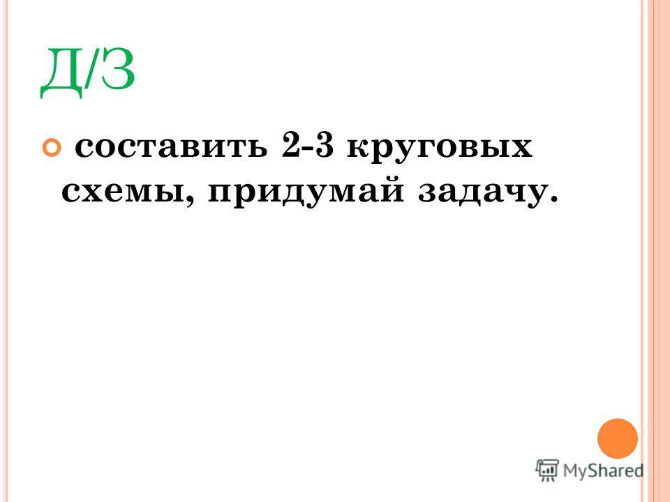 Д/З составить 2-3 круговых схемы, придумай задачу.