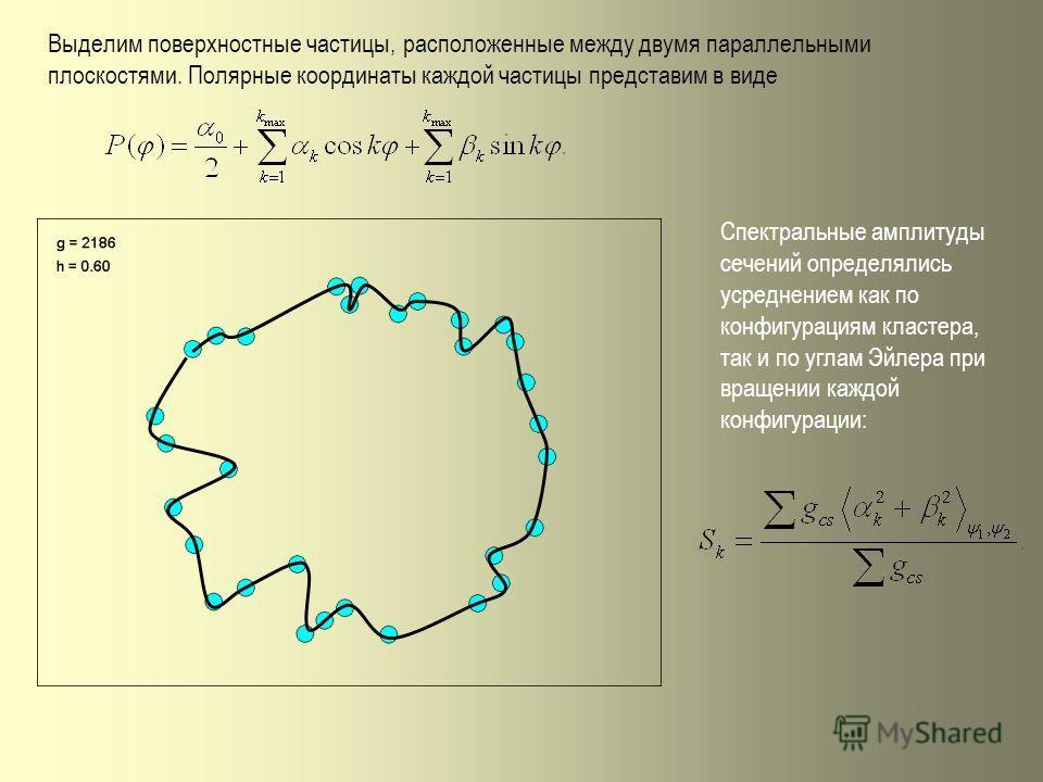 Выделим поверхностные частицы, расположенные между двумя параллельными плоскостями. Полярные координаты каждой частицы представим в виде Спектральные амплитуды сечений определялись усреднением как по конфигурациям кластера, так и по углам Эйлера при