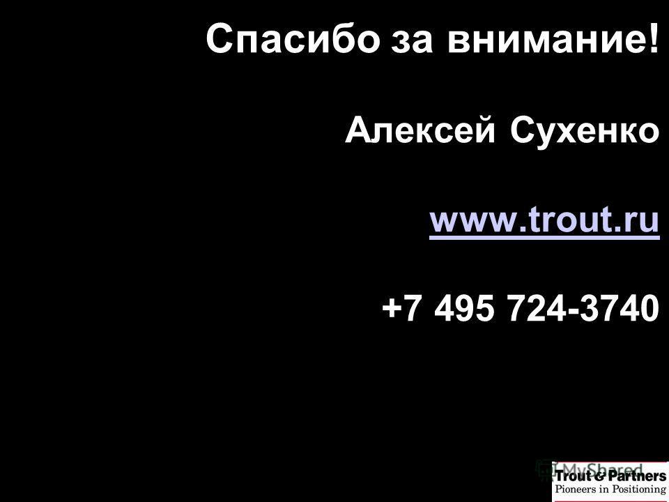 Спасибо за внимание! Алексей Сухенко www.trout.ru +7 495 724-3740 www.trout.ru