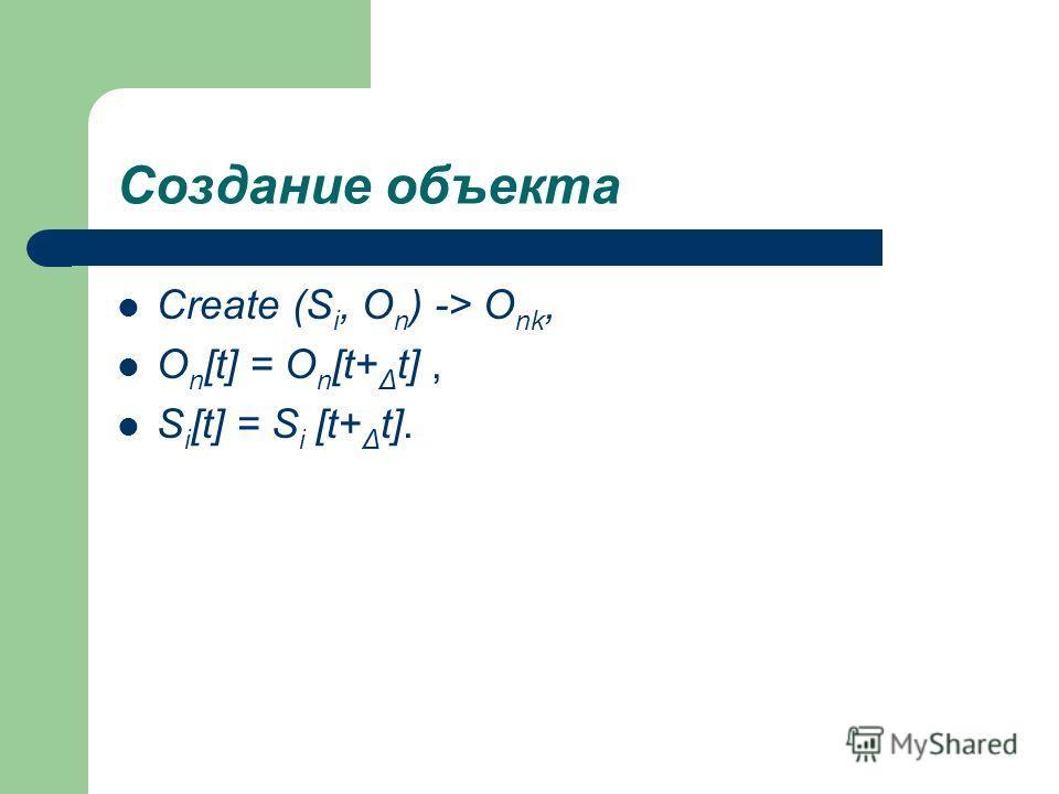 Создание объекта Create (S i, O n ) -> O nk, O n [t] = O n [t+ Δ t], S i [t] = S i [t+ Δ t].