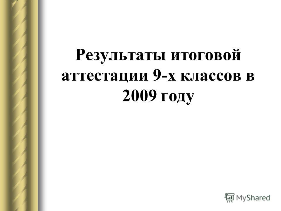 Результаты итоговой аттестации 9-х классов в 2009 году