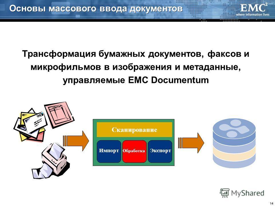 14 Сканирование Импорт Обработка Экспорт Трансформация бумажных документов, факсов и микрофильмов в изображения и метаданные, управляемые EMC Documentum Основы массового ввода документов