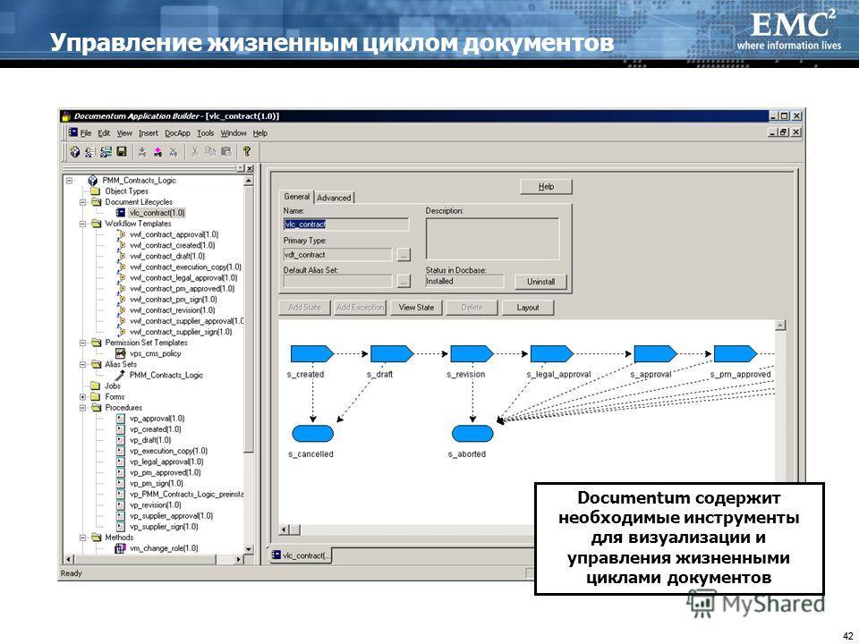 42 Управление жизненным циклом документов Documentum содержит необходимые инструменты для визуализации и управления жизненными циклами документов