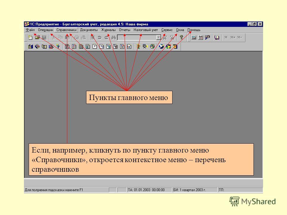 Пункты главного меню Если, например, кликнуть по пункту главного меню «Справочники», откроется контекстное меню – перечень справочников
