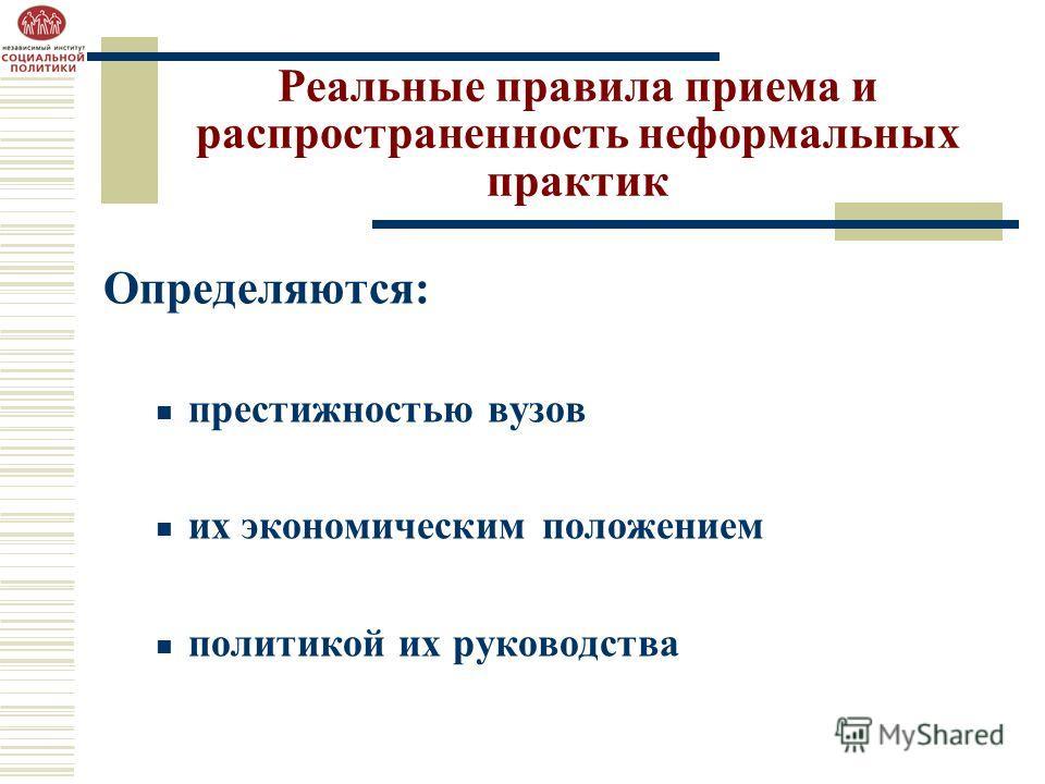 Реальные правила приема и распространенность неформальных практик Определяются: престижностью вузов их экономическим положением политикой их руководства