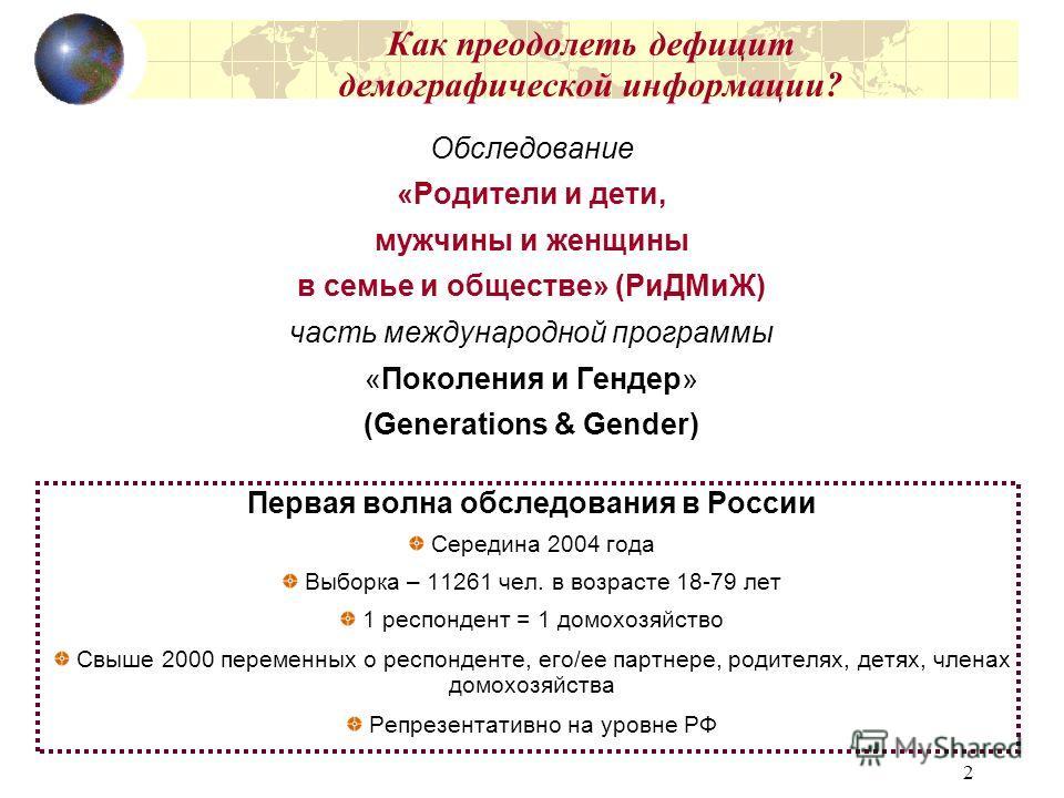 2 Как преодолеть дефицит демографической информации? Обследование «Родители и дети, мужчины и женщины в семье и обществе» (РиДМиЖ) часть международной программы «Поколения и Гендер» (Generations & Gender) Первая волна обследования в России Середина 2