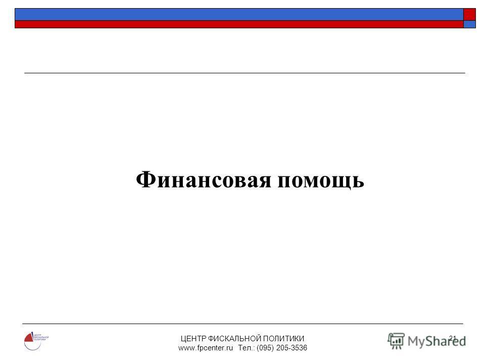 ЦЕНТР ФИСКАЛЬНОЙ ПОЛИТИКИ www.fpcenter.ru Тел.: (095) 205-3536 21 Финансовая помощь