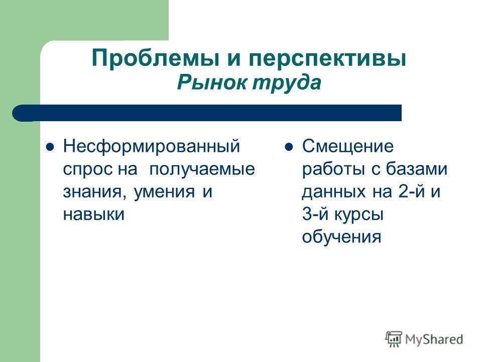 Проблемы и перспективы Рынок труда Несформированный спрос на получаемые знания, умения и навыки Смещение работы с базами данных на 2-й и 3-й курсы обучения
