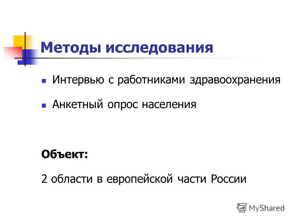 Методы исследования Интервью с работниками здравоохранения Анкетный опрос населения Объект: 2 области в европейской части России