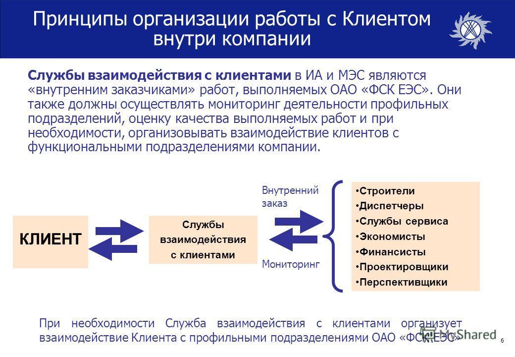 6 Принципы организации работы с Клиентом внутри компании КЛИЕНТ Службы взаимодействия с клиентами в ИА и МЭС являются «внутренним заказчиками» работ, выполняемых ОАО «ФСК ЕЭС». Они также должны осуществлять мониторинг деятельности профильных подразде