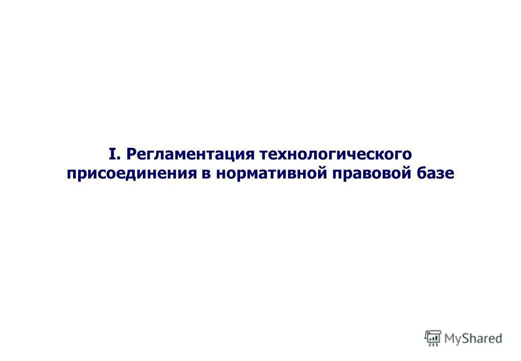 I. Регламентация технологического присоединения в нормативной правовой базе