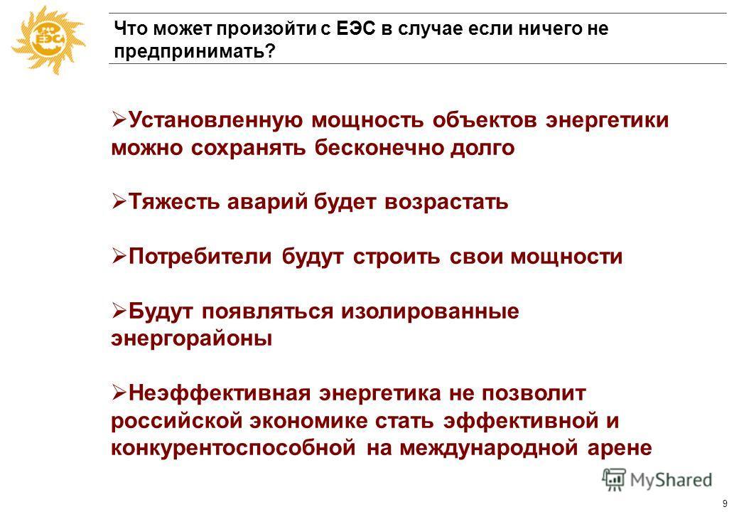 8 Баланс нагрузок и располагаемой мощности Московский регион Млн. кВт Нагрузка (расчетная при - 26ºС) Располагаемая мощность 16,20 13,33 11,97 14,27 14,16 13,81 13,89 13,41 10 11 12 13 14 15 16 17 199019952000 Уже сегодня мощностей энергосистемы недо