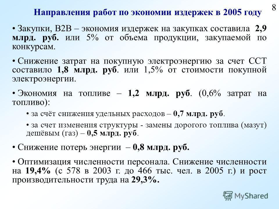 8 Направления работ по экономии издержек в 2005 году Закупки, В2В – экономия издержек на закупках составила 2,9 млрд. руб. или 5% от объема продукции, закупаемой по конкурсам. Снижение затрат на покупную электроэнергию за счет ССТ составило 1,8 млрд.