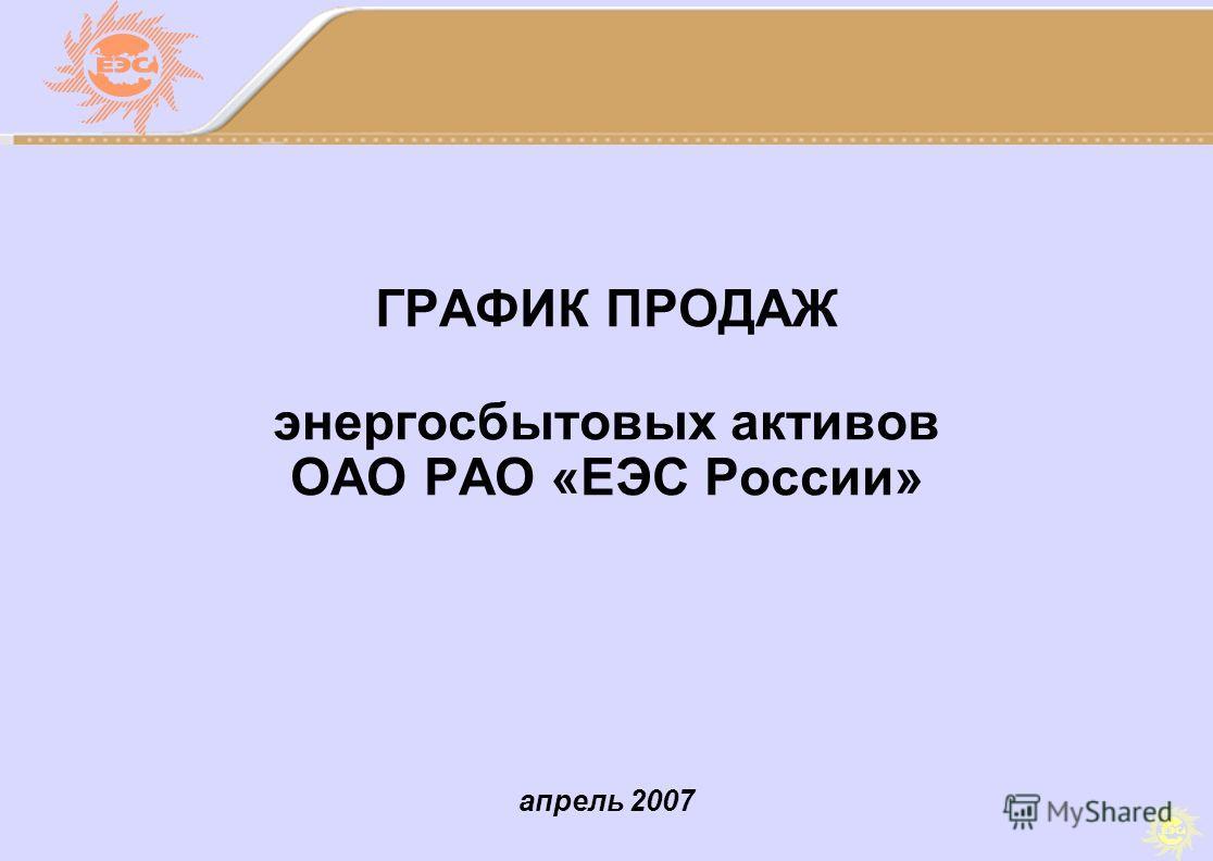 апрель 2007 ГРАФИК ПРОДАЖ энергосбытовых активов ОАО РАО «ЕЭС России»